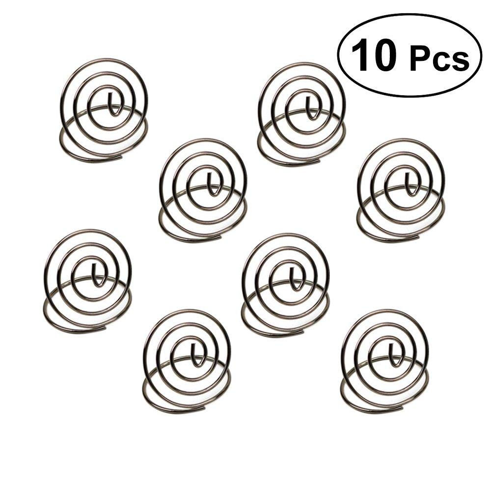 Bestonzon 10pz in acciaio INOX creativo carta di forma rotonda del cerchio stereo note Pad segnaposti menu clip (argento)