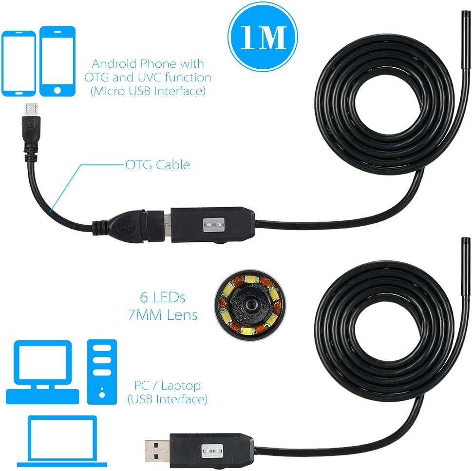 Owsoo 6 Führte 7mm Objektiv Endoskop Ip67 Wasserdicht Inspektion Endoskop Usb Draht Schlange Rohr Kamera 6leds Für Otg Kompatiblen Android Smartphones 1m Baumarkt