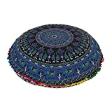 32''Blue Multi Mandala Bohemian Indian Floor Cushion Seating Boho Decorative Mandala Ottoman Poufs, Multi Pom Pom Pillow Case