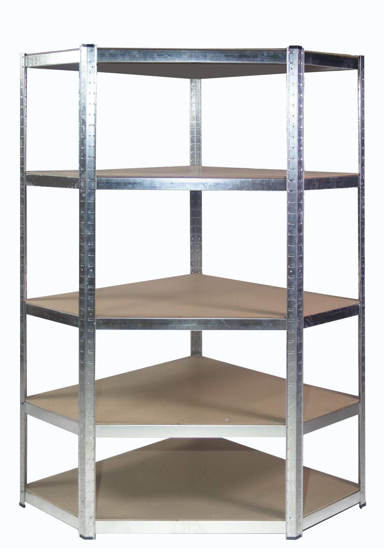 Rayonnage robuste en acier galvanisé d'angle pour étagères de garage pour tablettes d'angle, 175 kg (5 niveaux: 1800 mm H x 900 mm / 698 mm L x 400 mm P) + LIVRAISON GRATUITE LE JOUR SUIVANT Racking Solutions