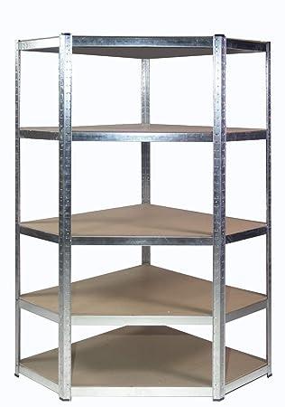 Neuf 5 niveau en plastique double étagère Tablettes Unité De Stockage Noir Outils Garage Bricolage