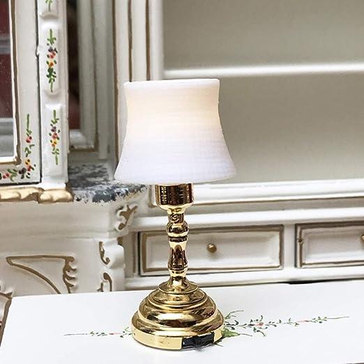 Mobestech 1:12 casa de muñecas en miniatura lámpara de mesa ...