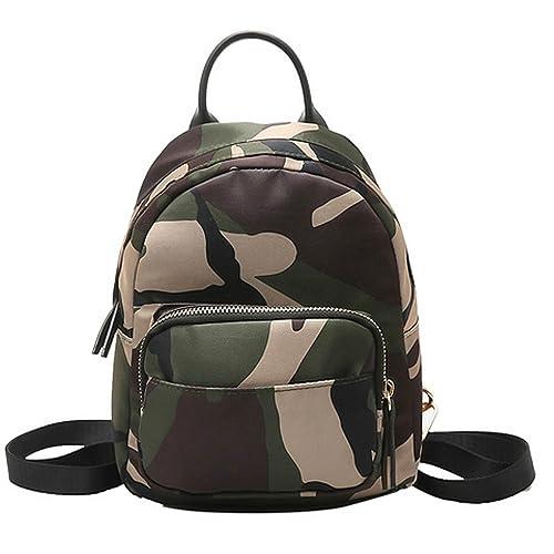 01dcb1fb1071 Clara Camouflage Women Mini Backpack Nylon Leisure Daypack Printed Shoulder  Bag Handbag Purse(Camouflage)