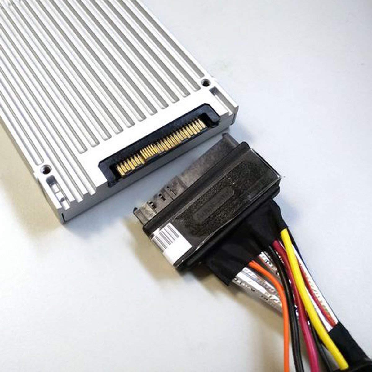 CableDeconn 0.5M Mini SAS C/âble Interne HD 8643 Mini SAS SFF 8643 /à 8639 avec Alimentation SATA /à 15 Broches
