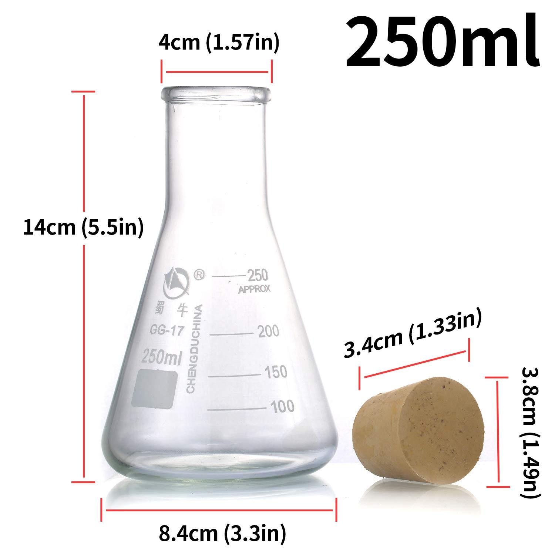 oz GSC International EF250 Glass Gsc Erlenmeyer Flask 250 mL with Graduations Capacity Borosilicate Glass 8.45351 fl
