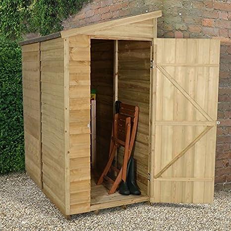 Cobertizo de Jardín 6 x 3 tratada a presión de superposición Puerta Pent Tejado y fieltro: Amazon.es: Jardín