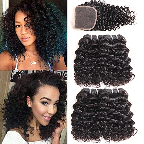 Beauty : PANEWAY Brazilian 10A Deep Curly Hair With Closure 4 Bundles With Closure 100% Unprocessed Virgin Human Hair Curly Weave Brazilian Kinky Curly Hair Extensions Natural Color (8 8 10 10+10)