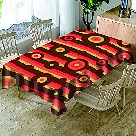 Morbuy Manteles Antimanchas Rectangular, 3D Sencillo Estilo Impresión Manteles de Mesa Cuadrada Impermeable Prueba de Polvo Mantel para Cocina Salón Jardín (Círculo Rojo Vino,150x300cm)