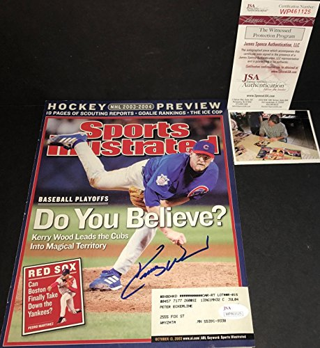 Kerry Wood Chicago Cubs Autographed Signed Sports Illustrated WITNESS COA D - JSA Certified - Autographed MLB Magazines