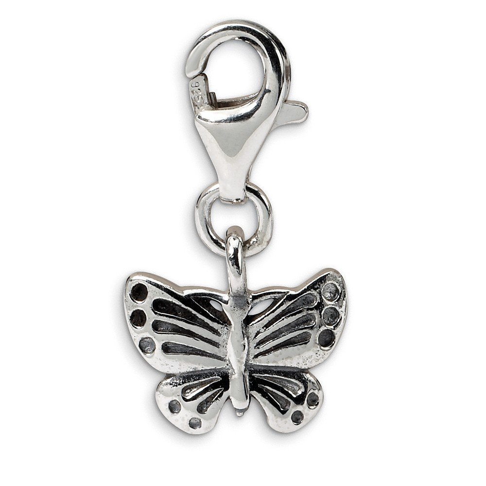 FB Jewels Solid 925 Sterling Silver Reflections Butterfly Click-On For Bead