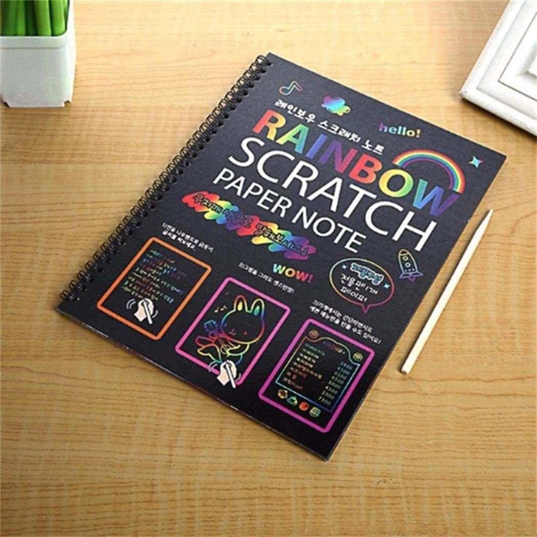 Yukio DIY Children Scratching Painting Colorful Drawing Art Paper Book