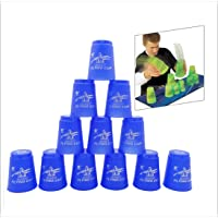 12pcs/Set Speed Stacking Cup Flying Cup Fast Hand Stacking Sports Games Flying Saucer Cup 5 Colors Boxed Toy Gift Puzzle IQ Game Horsehead (Blue)