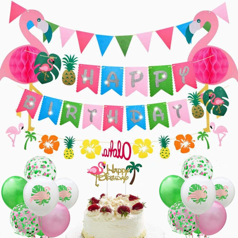Hawaiian Flamingo Party Decor Luau Party Supplies Birthday Decorations Hawaiian Luau Party Decoration,Hawaiian Birthday Party Supplies Includes Gliter Happy Birthday Banner, Flamingo Honeycomb Decoration,Tropical Pineapple Aloha Garland and Pennant ,Colorful Summer Latex Balloons with Round Confetti Balloons