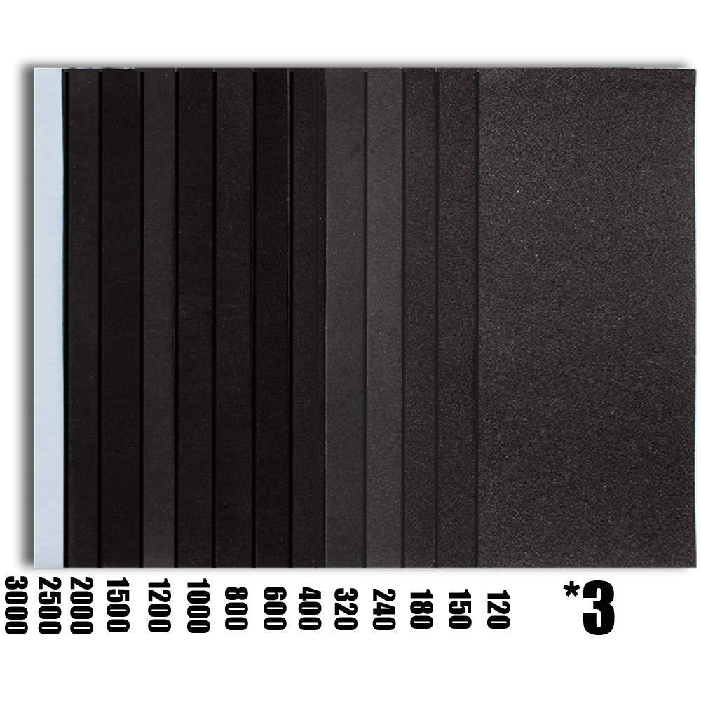 Metal Sanding,Car Sanding,Glasses Sanding- Block Sander+42 Sandpapers 9x3.6 Inch Sanding Sheets for Wood Furniture Finishing WEWGO Sanding Block With Wet Dry 120 to 3000 Assorted Grit Sandpapers