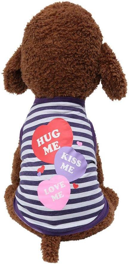 Allegorly Haustier Hund Kleidung Gestreifter Liebe drucken Weste Atmungsaktives T-Shirt Hemd Pyjamas Prinzessin Jumpsuits Kost/üme f/ür Kleine Hund Welpen Katze