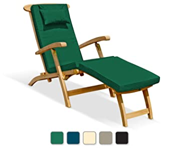 Delightful SERENITY TEAK STEAMER CHAIR WITH CUSHION (GREEN)   Fully Assembled
