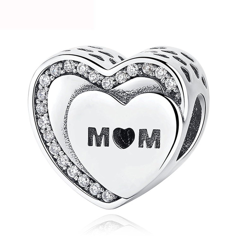 4bb448da4385 Abalorio de plata de ley 925 con diseño de corazón de homenaje a mamá