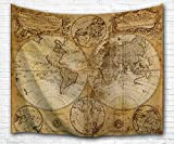 Antique World Map Wall Tapestry Hanging by IMEI, Polyester Fabric 3D Vintage Nostalgic Design Wall Art Tapestries Home Decor for Living Room, Bedroom (80X60 Inch, Old Map)