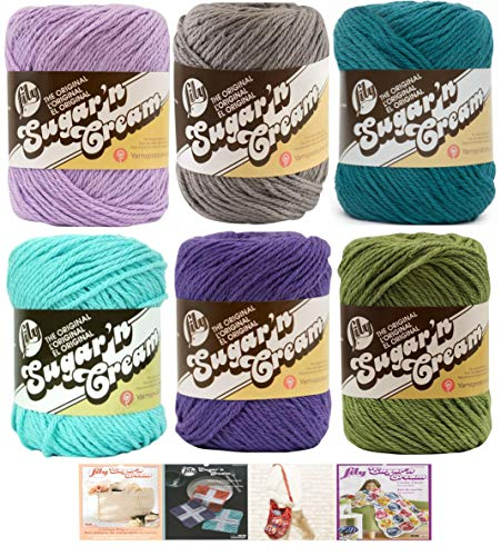 Lily Sugar n' Cream Variety Assortment 6 Pack Bundle 100% Cotton Medium 4 Worsted with 4 Patterns (Asst 66)