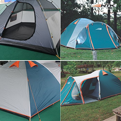NTK INDY GT 4 to 5 Person 12.2 by 8 Foot Outdoor Dome Family Camping Tent 100% Waterproof 2500mm, European Design, Easy Assembly, Durable Fabric Full Coverage Rainfly - Micro Mosquito Mesh. by NTK (Image #5)
