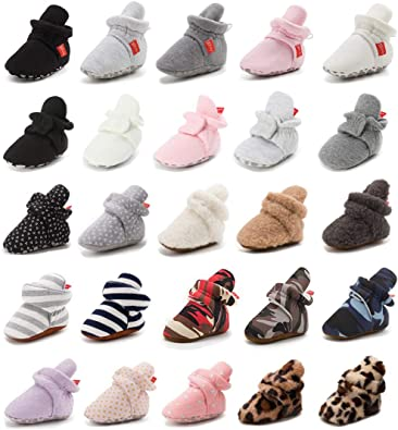 0-18 Months Baby Boys Girls Cotton Booties Fleece Infant Socks Non-Skid Soft Sole Stay On Newborn Slippers Winter Warm Crib Shoes