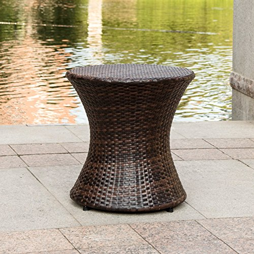 Sundale Outdoor Wicker Hourglass Accent Side Table All Weather Patio Furniture - Outdoor Rattan End Table