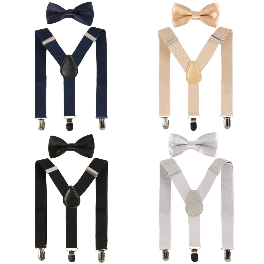 kilofly 4 Sets Boys Pre-tied Adjustable Neck Bow Ties + Elastic Suspenders Pack BBA522set4