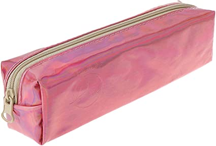SimdocCool - Estuche holográfico para lápices, de piel, con cremallera holográfica, para cosméticos, bolsa de maquillaje portátil de viaje, color rosa, plata, dorado: Amazon.es: Oficina y papelería
