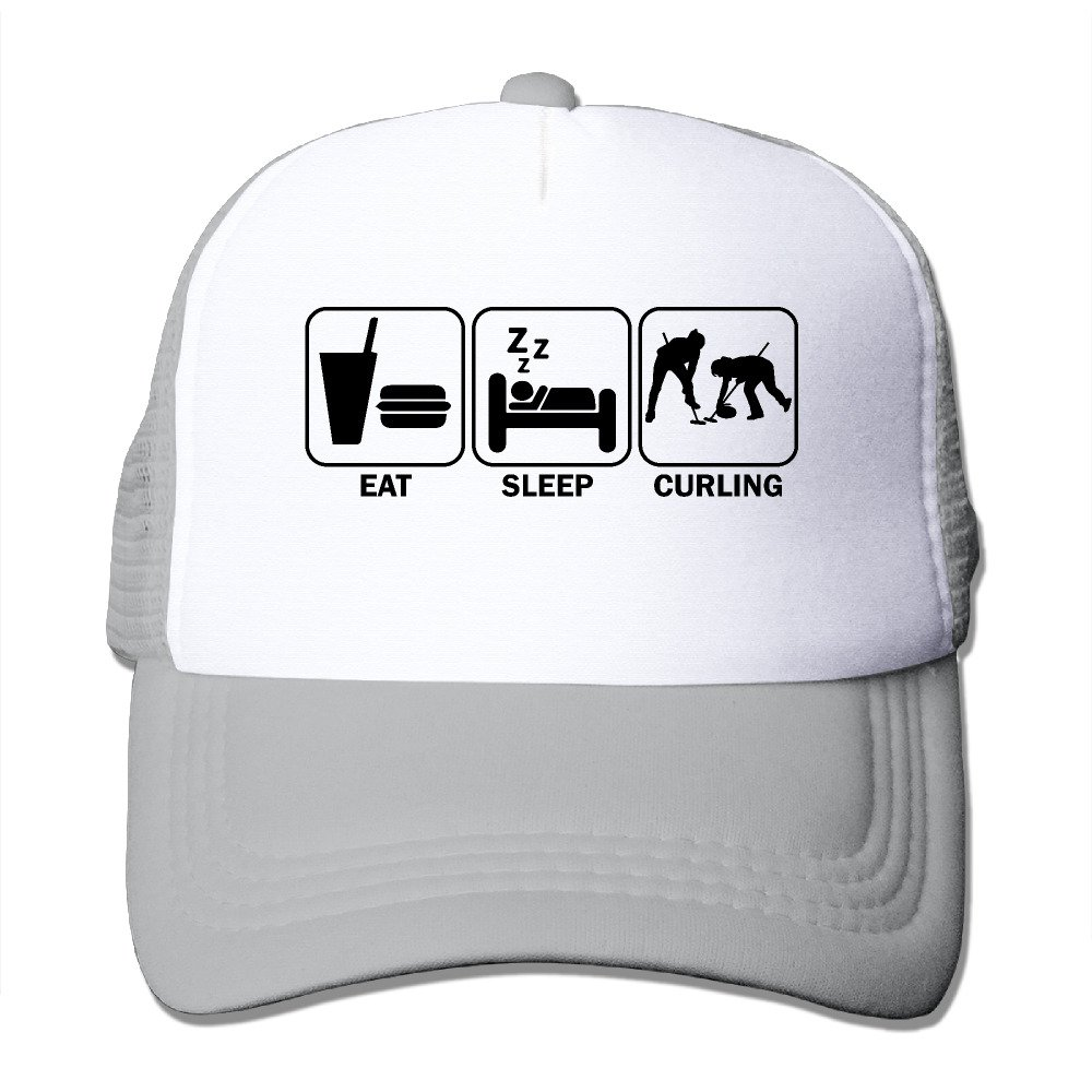 Eat Sleep Curling Mesh Trucker Cap