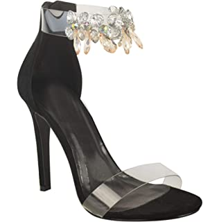 ad0421ee1f39 Womens Ladies Perspex High Heel Jewel Stiletto Sandals Ankle Strappy Shoes  Size