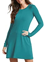 Sarin Mathews Womens Long Sleeve Midi Flared Dress Round Neck Casual Dresses