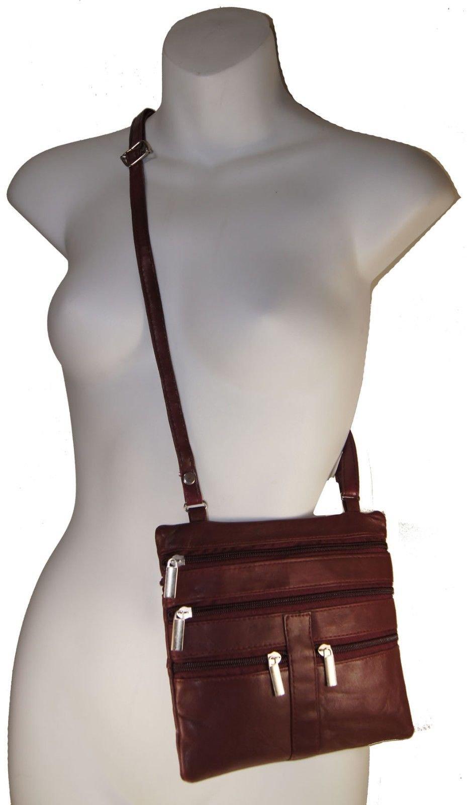 Cherry Ladies Genuine Leather Cross Body Bag Satchel Messenger Bag 48'' Strap