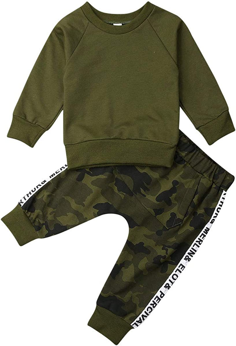 Mioliknya Toddler Kids Baby Boys Letter Stripe Sweatshirt Tops Pants Leggings Outfits Autumn and Winter Classic Clothes