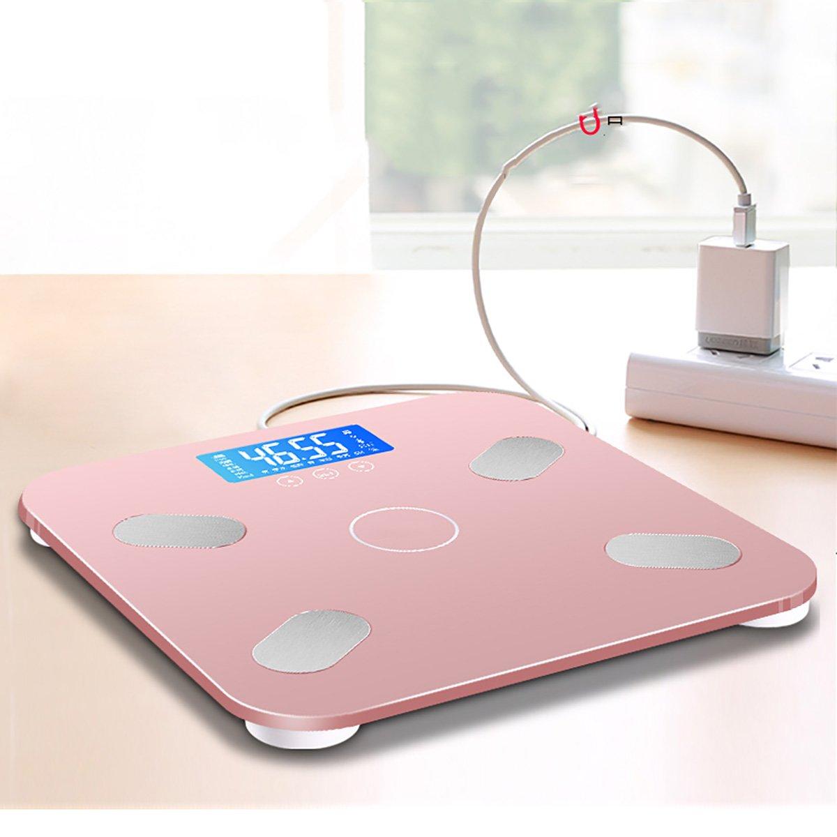 Balanza de cuerpo inteligente escalas de peso electrónico inteligente escalas de cuerpo del hogar escamas de peso adulto con precisión peso de grasa (Color ...