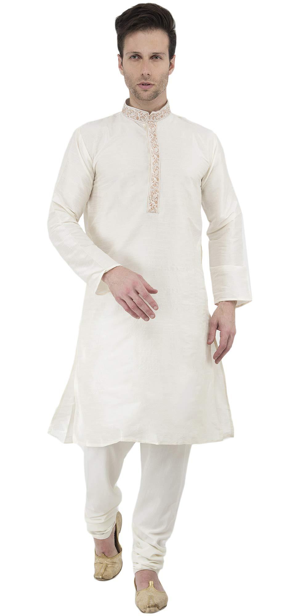 Kurta Pajama Set Long Sleeve Art Silk Offwhite Button Down Men Dress Shirt Pyjama