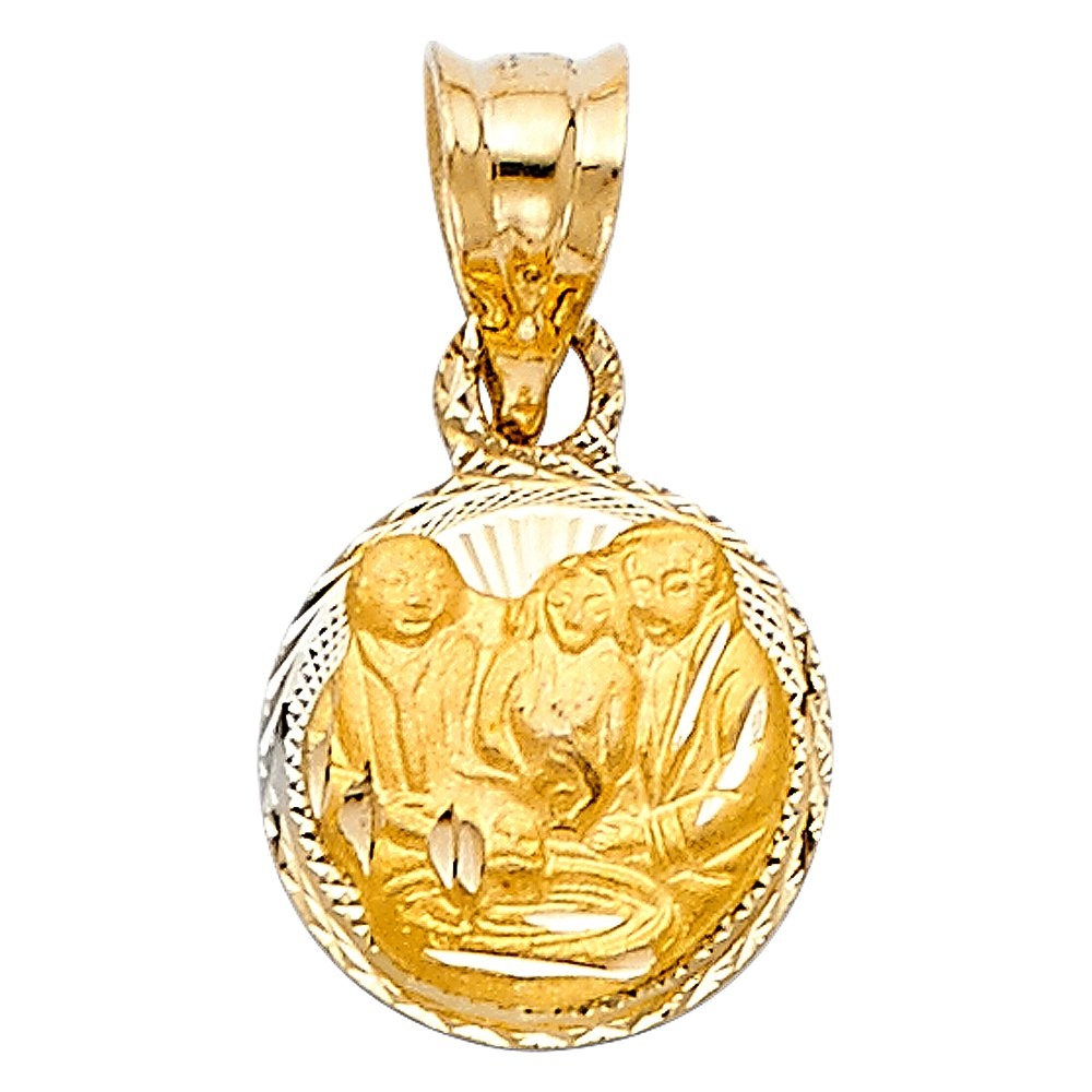 10mm Disc 13mm x 10mm with 18 Rolo Chain Million Charms 14k Tri-Color Gold Religious Mini Baptism Stamp Charm Pendant Diamond-Cut