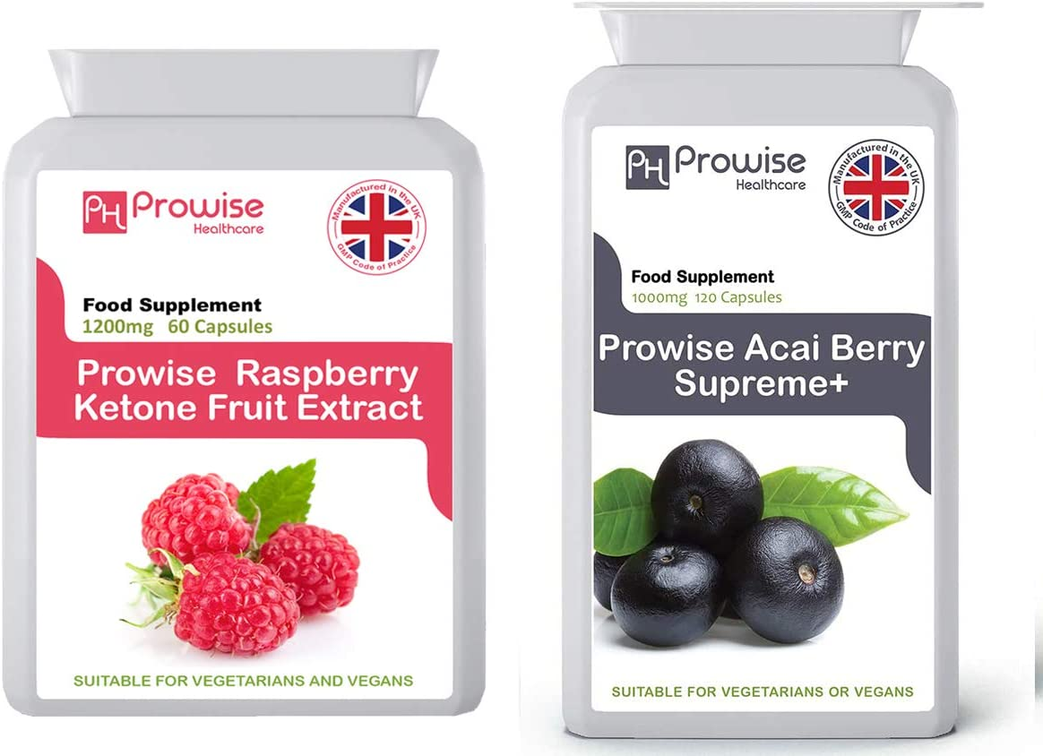 Extracto de fruta de frambuesa 1200 mg-60 cápsulas + Acai Berry 1000 mg 120 cápsulas - Fabricado en el Reino Unido   Estándares GMP de Prowise ...