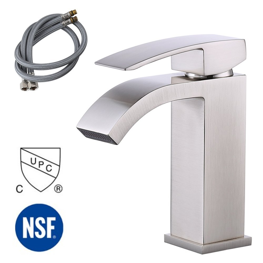 KES L3109A1LF-2 Single Handle Waterfall Bathroom Vanity Sink Faucet with Extra Large Rectangular Spout, Brushed Nickel