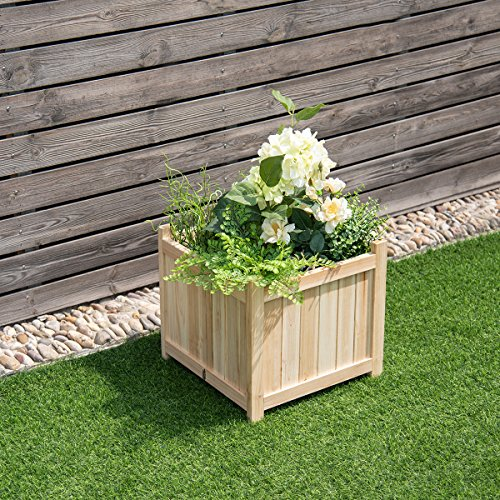 Giantex Portable Flower Planter Box Raised Vegetable Patio Lawn Garden Backyard Elevated Outdoor Wood Planter Boxes (Natural Square) by Giantex (Image #2)