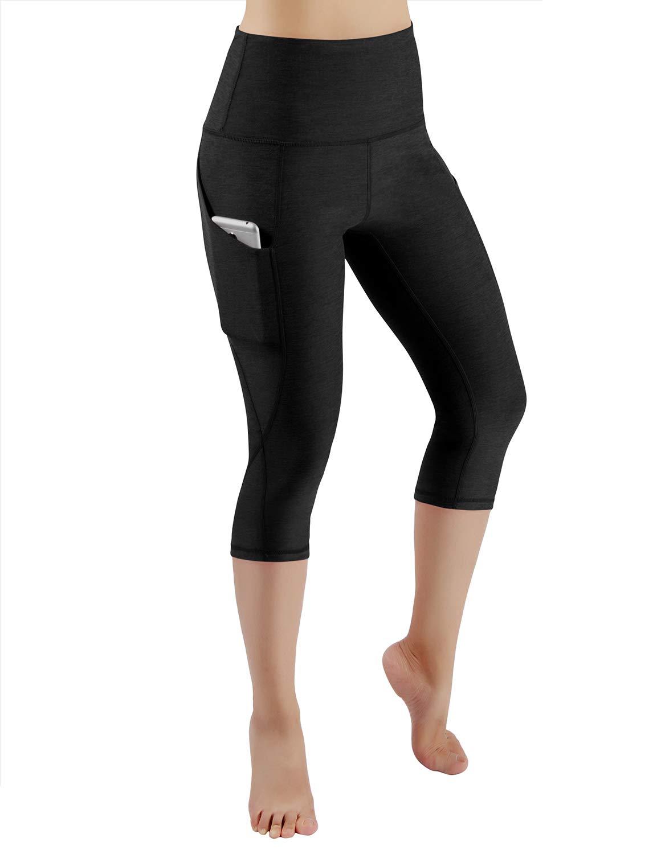 ODODOS High Waist Out Pocket Yoga Capris Pants Tummy Control Workout Running 4 Way Stretch Yoga Leggings,Black,X-Small by ODODOS (Image #2)
