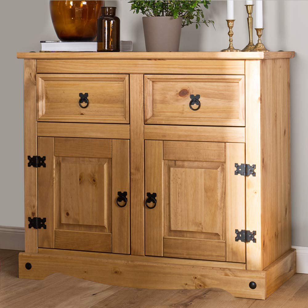 Anself Oak Sideboard Cupboard Cabinet 2 Drawers /& 2 Doors Furniture 90x33.5x83 cm