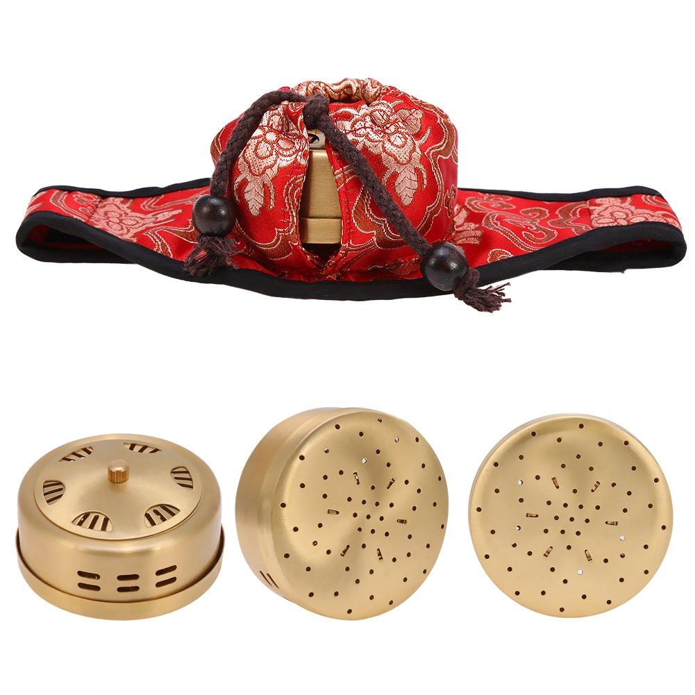 Caja de moxibustión, Moxa portátil Cobre Moxa Punto de acupuntura Terapia de estimulación Tratamiento Cojín de cuello Moxibustión Caja con forro de piel de ...