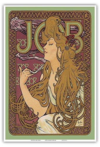 """JOBCigarette Paper- Art Nouveau - La Belle Époque- """"Les Maitres de l'Affiche""""- Art Deco- Vintage French Advertising Poster by Alphonse Mucha ca. 1897 - Master Art Print - 13in x 19in"""