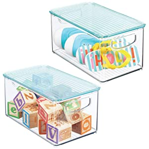 """mDesign Storage Organizer Bin Box with Lid for Kid Supplies in Kitchen, Pantry, Nursery, Bedroom, Playroom - Holds Snacks, Bottles, Baby Food, Diapers, Wipes, Toys - 10"""" Long, 2 Pack - Clear/Sea Blue"""
