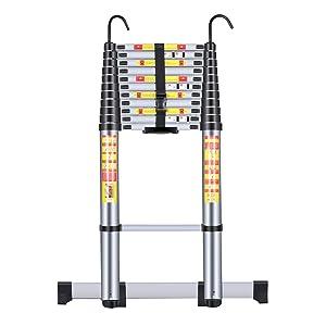 Handvoll Telescoping Ladder 15.5ft Aluminum Extension Folding Ladder, Portable Heavy Duty Multi-Purpose Telescopic Ladder with Slip-Proof Feet …