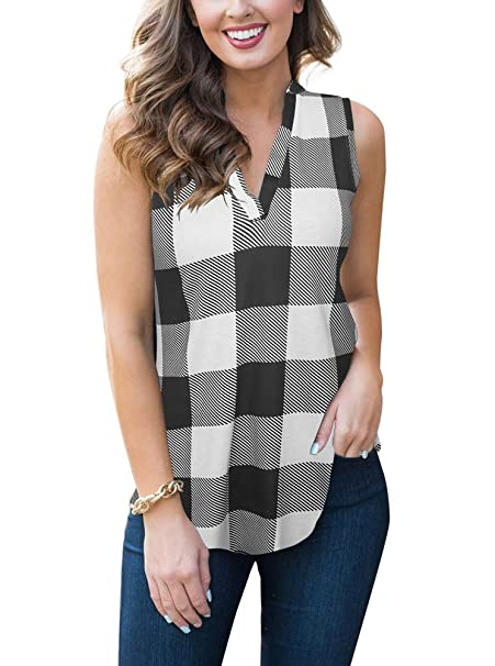 0145468d02fca Womens Summer V Neck Sleeveless Tank Tops Casual Plaid Tunic Blouse T Shirts  White Small