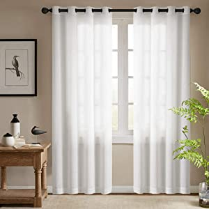 White Semi Sheer Curtains for Bedroom Casual Weave Linen Look Privacy White Heavy Sheer Curtain Set for Living Room 95 inches Length, 2 Panels