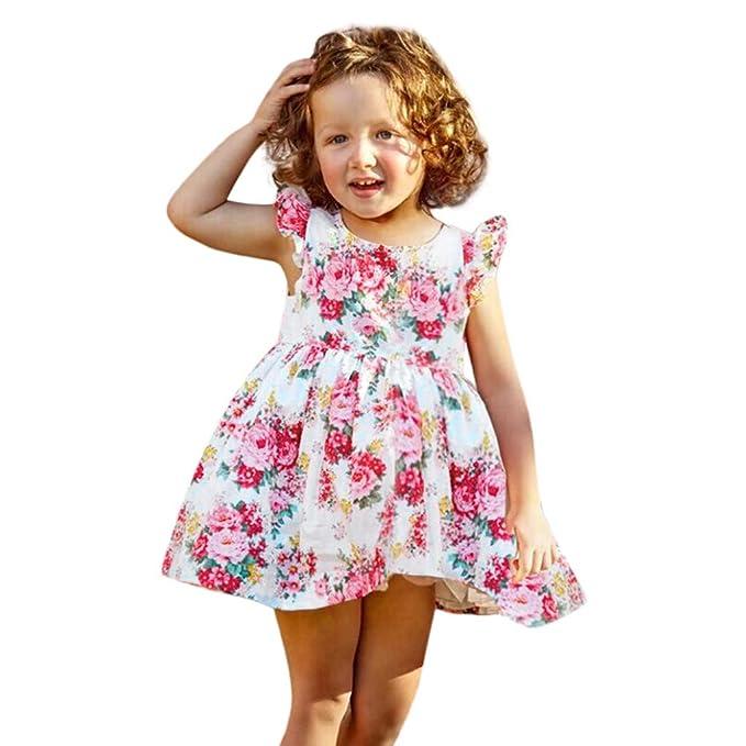 ea7b71694 Vestido de Niña,Manga Voladora Imprimiendo Vestido de Princesa Bebé ...