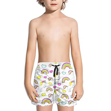 aab144c101 LKIMNJ Boys Swim Trunks are The Unicorn Facts Real Horse Images Quick Dry  Light Beach Board