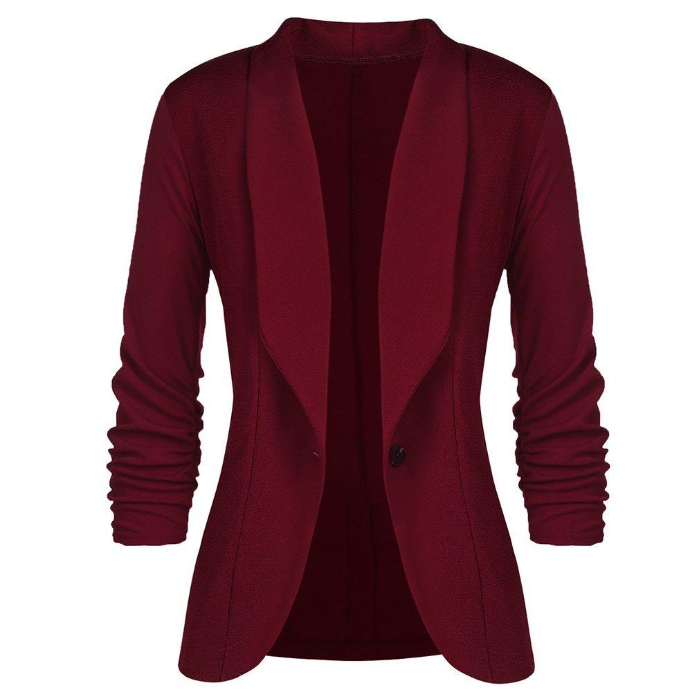 Juleya OL Fashion Women Slim Blazer Coat Casual Jacket Seven-Quarter Sleeve One Button Suit Ladies Work Blazers B180724WC1-J